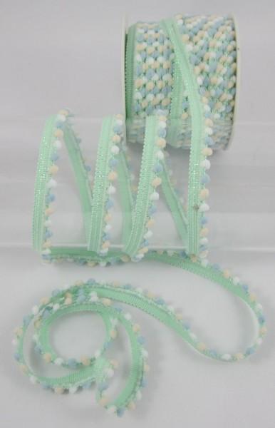 Pomponborte mini, pastelgrün