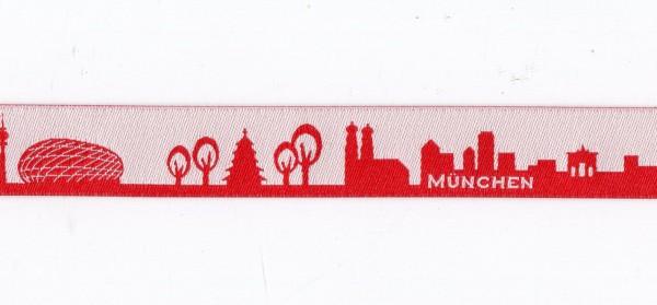 München Skyline Webband rot/weiss