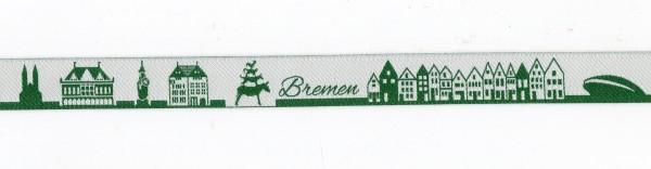 Bremen Skyline Webband grün/weiss
