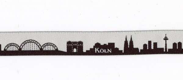 Köln Skyline Webband schwarz/weiss