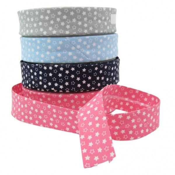 Schrägband mit weißen Sternen, 30mm breit, 4 Farben zur Auswahl