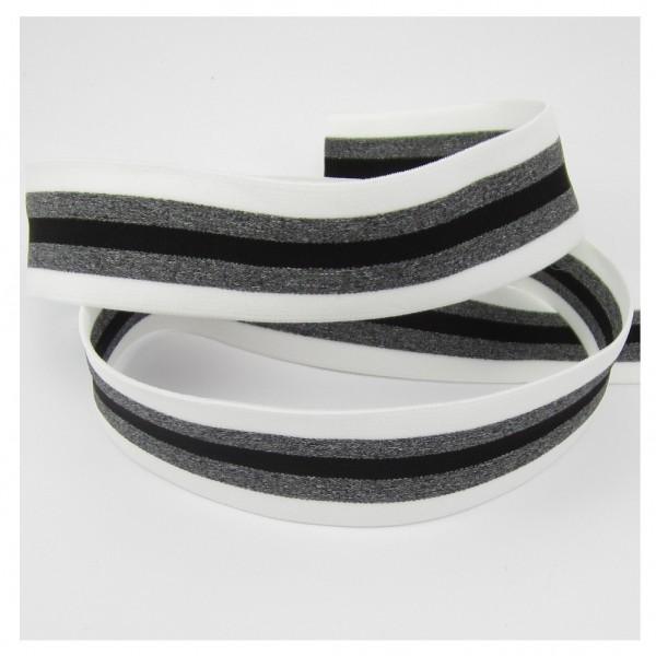 Weiches Gummiband mit Streifen, 35mm breit