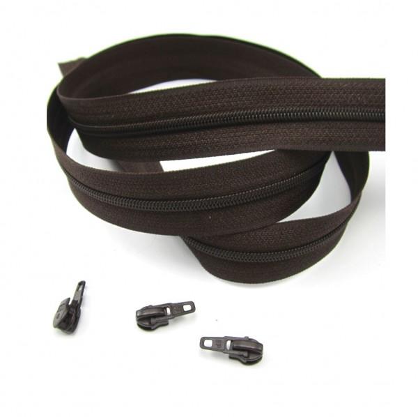 Endlosreißverschluss, 4mm Spirale - dunkelbraun