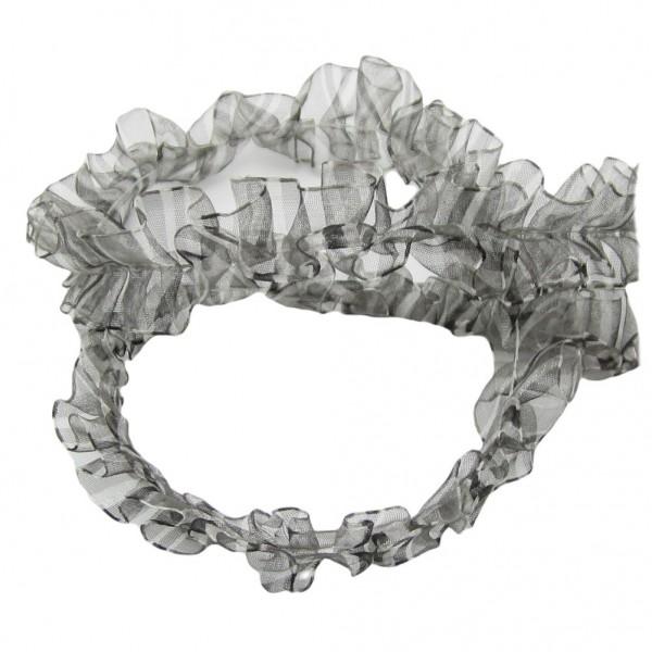 Rüschenborte plessiert, 25mm breit, grau