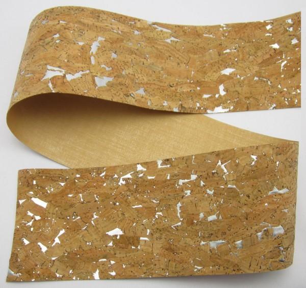 Korkband, braun 100mm silber oder goldener Hintergrund