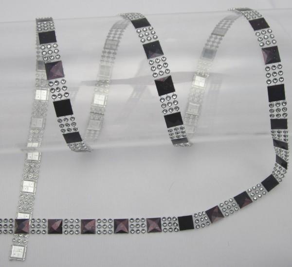 Perlenband, silber-schwarz, glänzend, 12mm