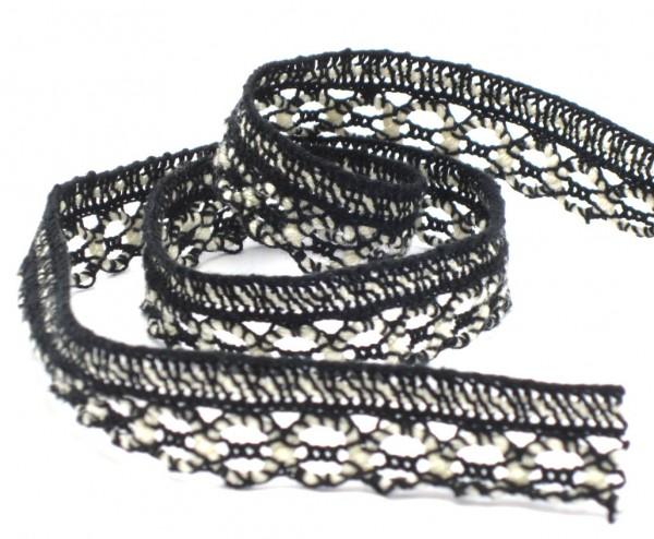 Klöppelspitze, Baumwolle, schwarz-weiß, 18mm