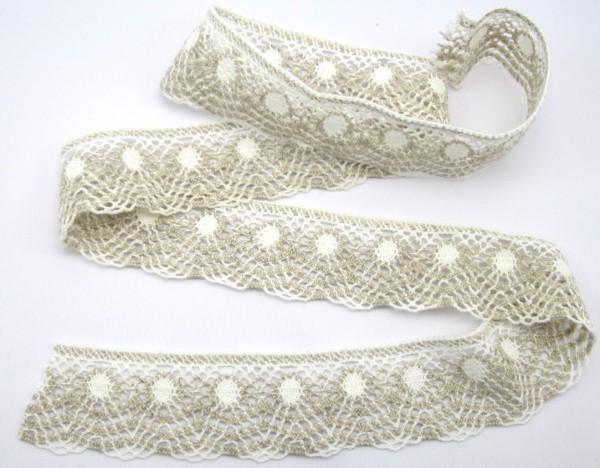 Klöppelspitze, Baumwolle, weiß-creme, 50mm breit