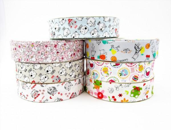 Baumwolle Schrägband 30mm farbige Motive