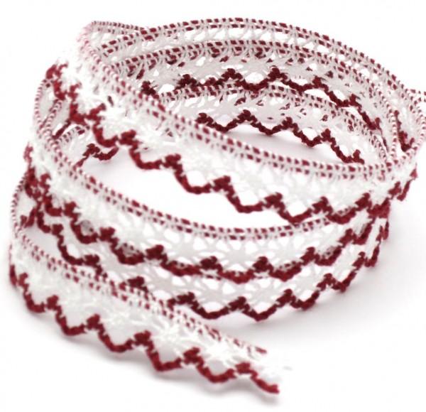 Baumwollspitze, weiß-rot, 12mm breit