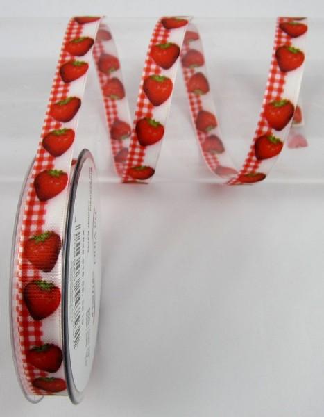 Kirschen, Himbeeren, Erdbeeren, Band mit Drahtkante, 15mm