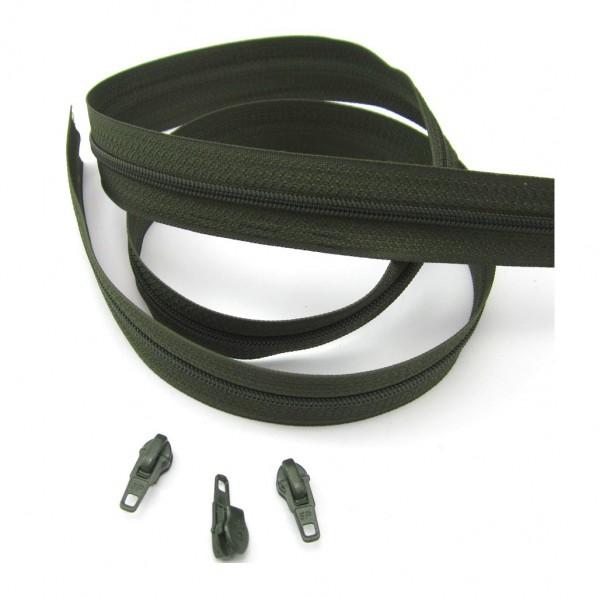 Endlosreißverschluss, 4mm Spirale - tarngrün