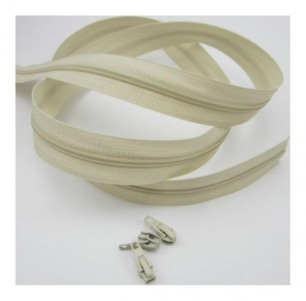 Endlosreißverschluss, 4mm Spirale - antikweiß