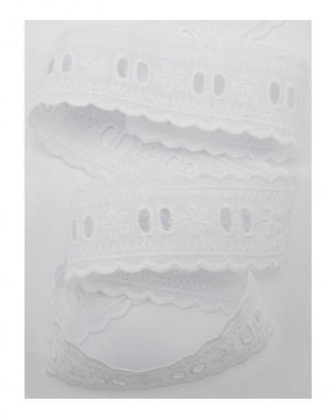 Entredeux Stickerei, 35mm breit, weiß