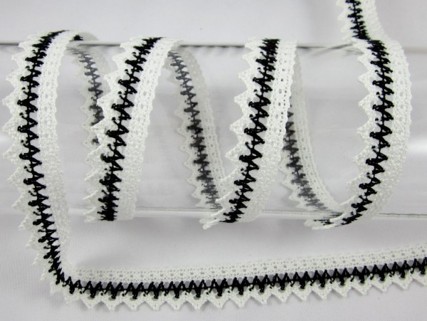 Spitze, mercerisiert, 25mm, weiß-schwarz
