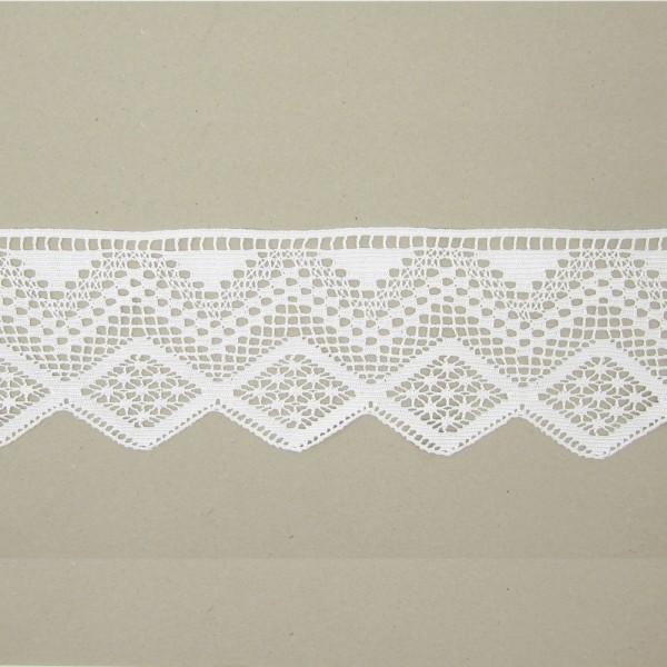 Spitze mit Wellenmuster, Polyester weiß, 115mm breit