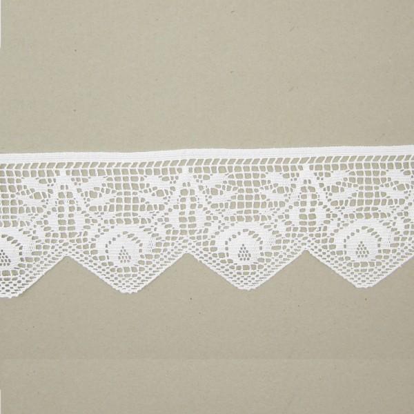 Spitze Blumen Flügel Polyester 105mm breit, weiß
