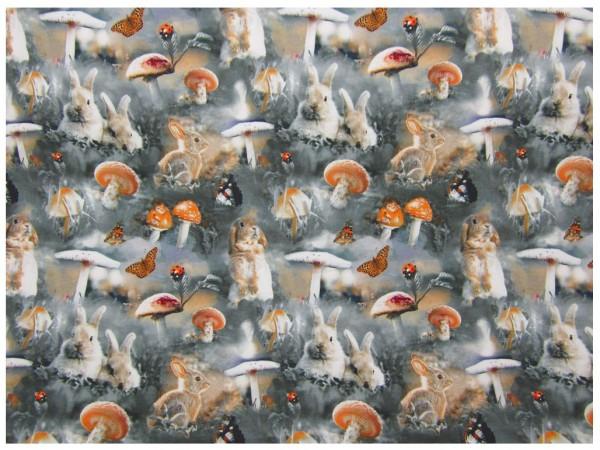 Jersey Stoff, Hasen, Pilze, Schmetterlinge, grau-orange