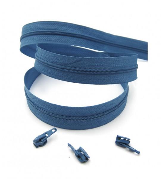 Endlosreißverschluss, 4mm Spirale - azurblau