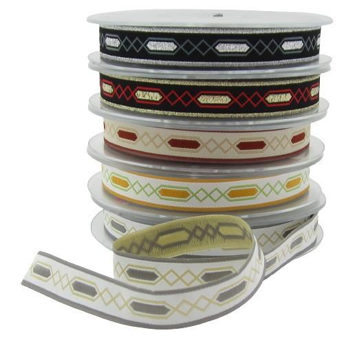 Webband Rautenmotiv, 16mm breit - 5 Farben zur Auswahl