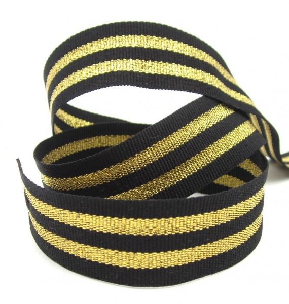 Streifenband, 25mm breit, silbern glänzend, 5 Farbkombinationen lieferbar