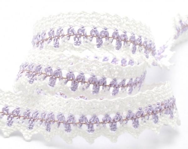 Baumwollspitze, weiß-flieder, 24mm breit