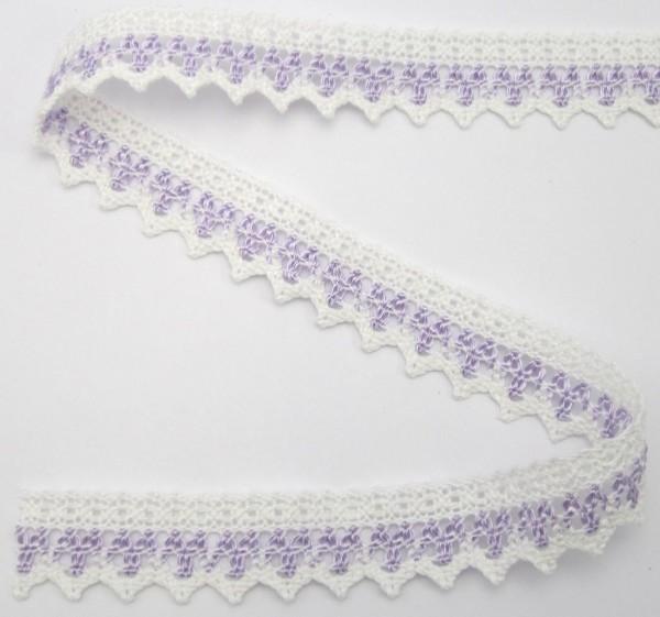 Baumwollspitze, weiß-violett, 25mm breit