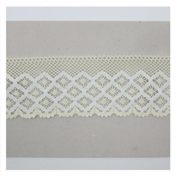Spitze Baumwolle, creme-weiß, 90mm breit