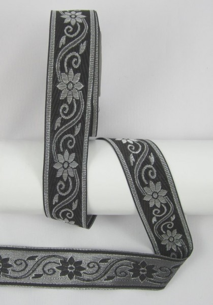 Blume Jacquardband Doppelseitig 33mm, schwarz-silber