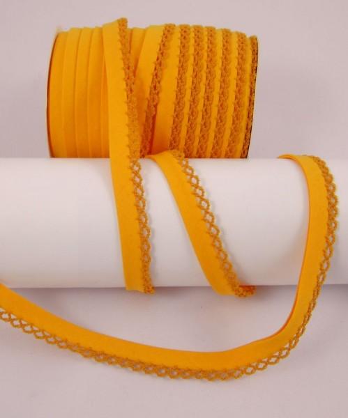 Schrägband mit Häkelborte, 22 Farben verfügbar