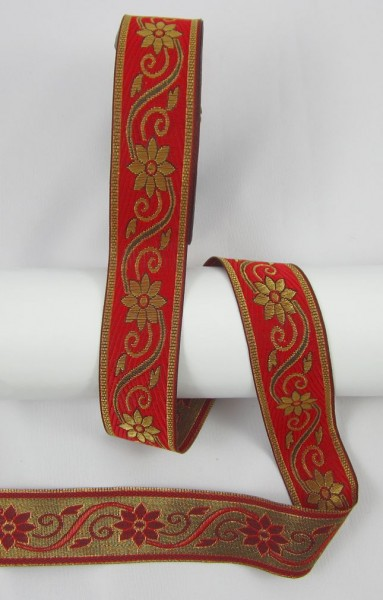 Blume Jacquardband Doppelseitig 33mm, rot-gold