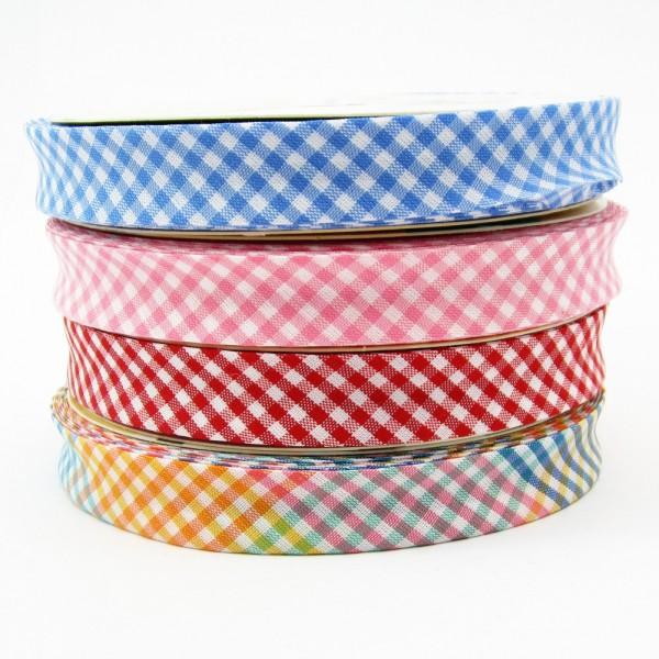 Vichy Karo mini Schrägband, 18mm breit, 4 Farben zur Auswahl