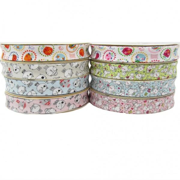 Baumwolle Schrägband, 18mm breit, 8 Motive zur Auswahl
