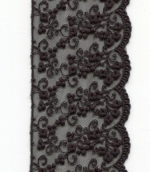 Tüllspitze 75mm schwarz 3734