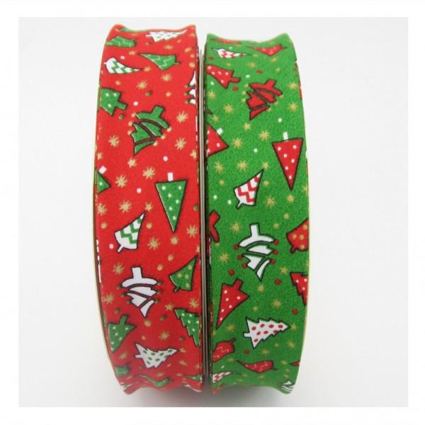 Weihnachtsschrägband, 30mm breit, rot oder grün