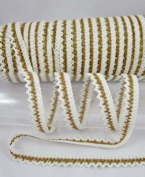 Spitze, mercerisiert, 20mm, weiß-gold