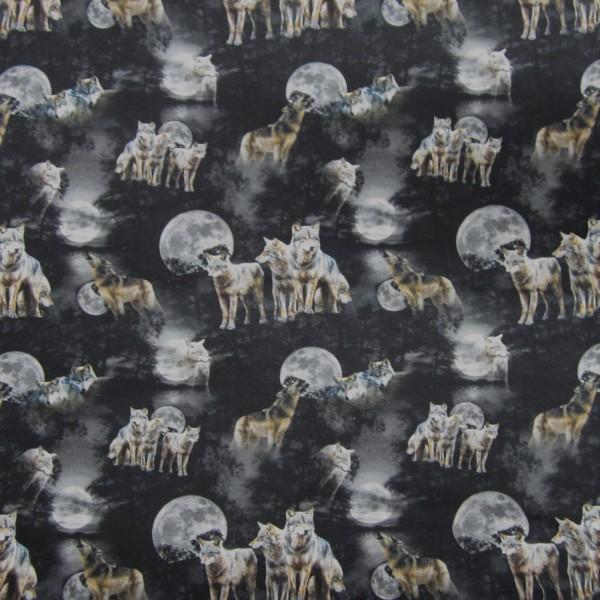 Jersey Stoff, Tiere, Wölfe, Mitternacht, schwarz