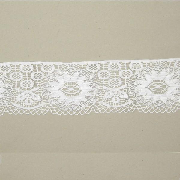 Spitze Sonnenblume Polyester 100mm breit, weiß