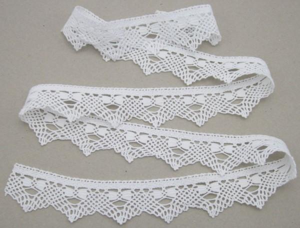 Klöppelspitze, Baumwolle, weiß, 40mm breit