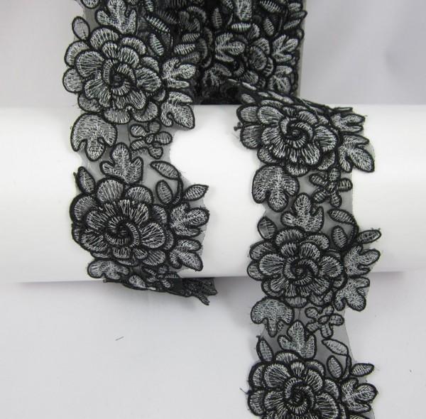 Blumen Aplicationen, schwarz mit Silberfäden