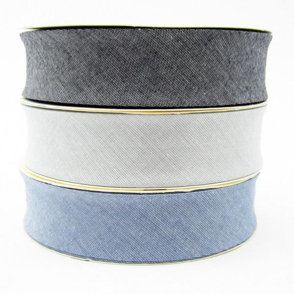 Schrägband mit Jeansoptik, 30mm breit - 3 Farben zur Auswahl