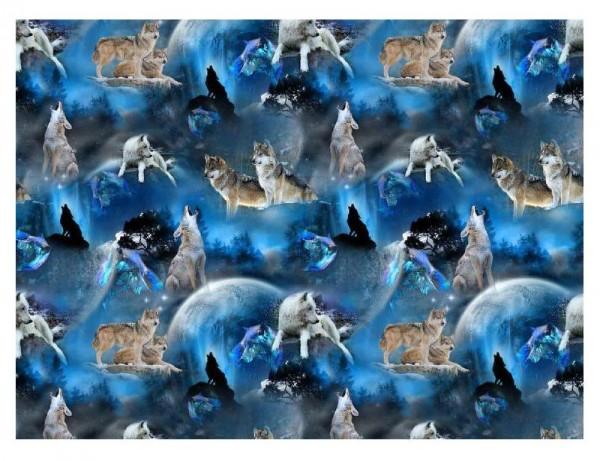 Jersey Stoff, Tiere, Wölfe, Mitternacht, dunkelblau