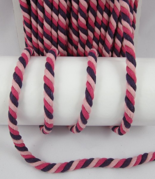 Baumwollkordel, gedreht, 14mm, lila-pink-rosa
