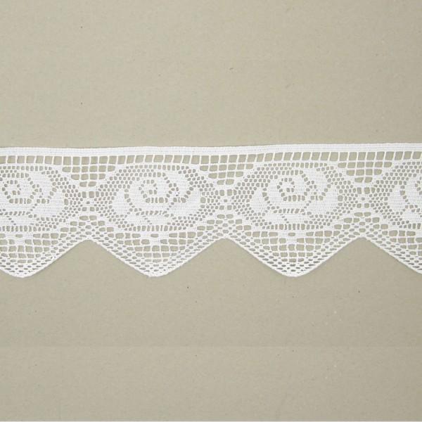 Spitze Rosenmuster Polyester 100mm breit, weiß