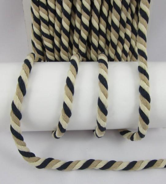 Kordel, schwarz-creme-weiß, 15mm