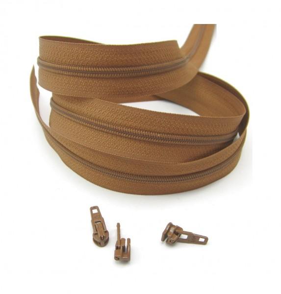 Endlosreißverschluss, 4mm Spirale - khakibraun