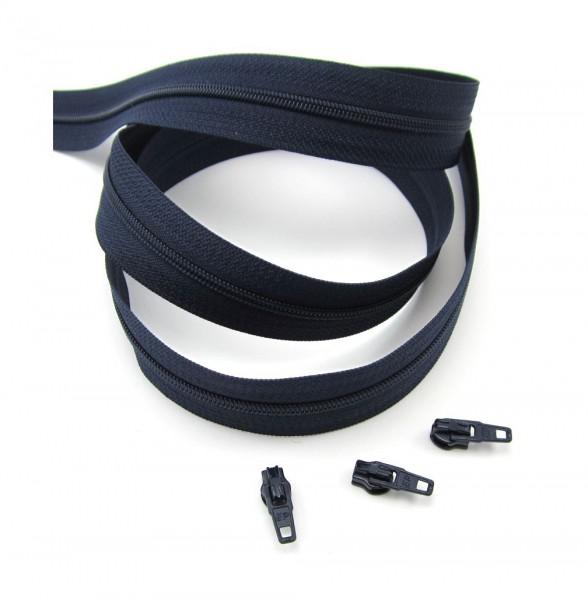 Endlosreißverschluss, 4mm Spirale - marineblau