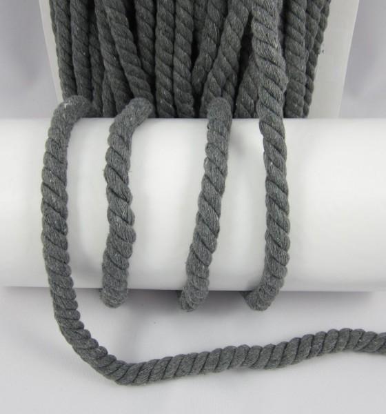 Baumwollkordel, gedreht, 14mm, grau