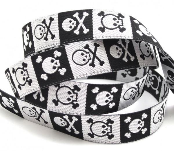 Totenkopfband, schwarz-weiß, 15mm