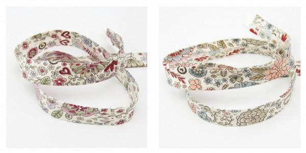Schrägband Blumenmotive, 18mm breit, 2 Motive zur Auswahl